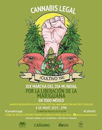 Póster de la XIX Marcha de la Marihuana en la CDMX.